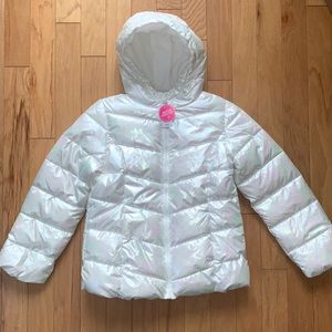 NWT Childrens Place Iridescent Puffer Jacket 10/12